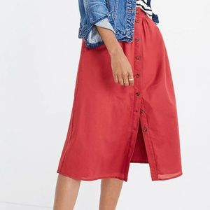 Madewell Palisade button-down skirt in warm berry